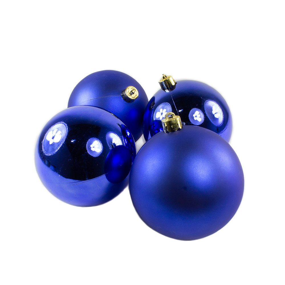 Cobalt Blue Baubles - Shatterproof - Pack of 4 x 100mm