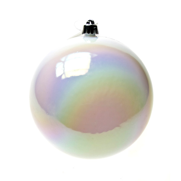 White Iridescent Baubles - Shatterproof - Single 140mm