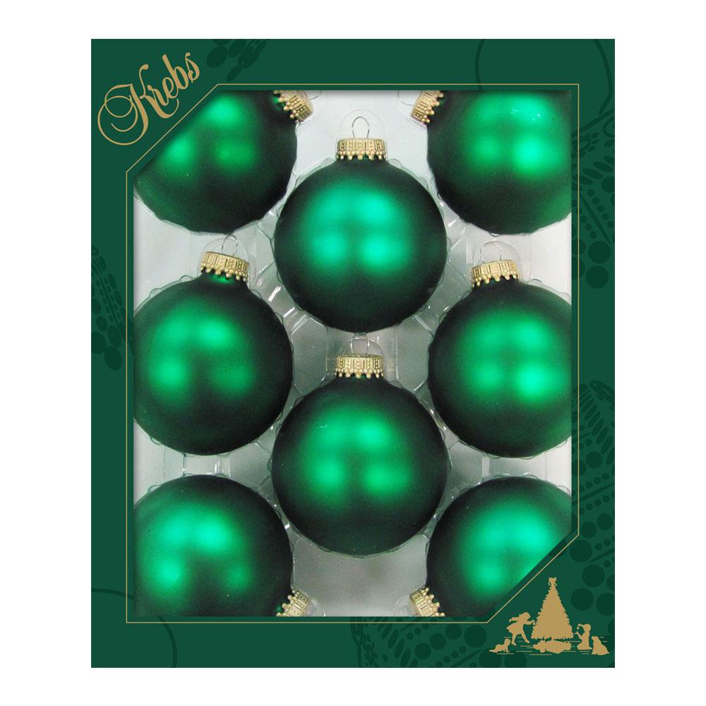 Krebs Green Velvet Glass Baubles - 8 x 67mm