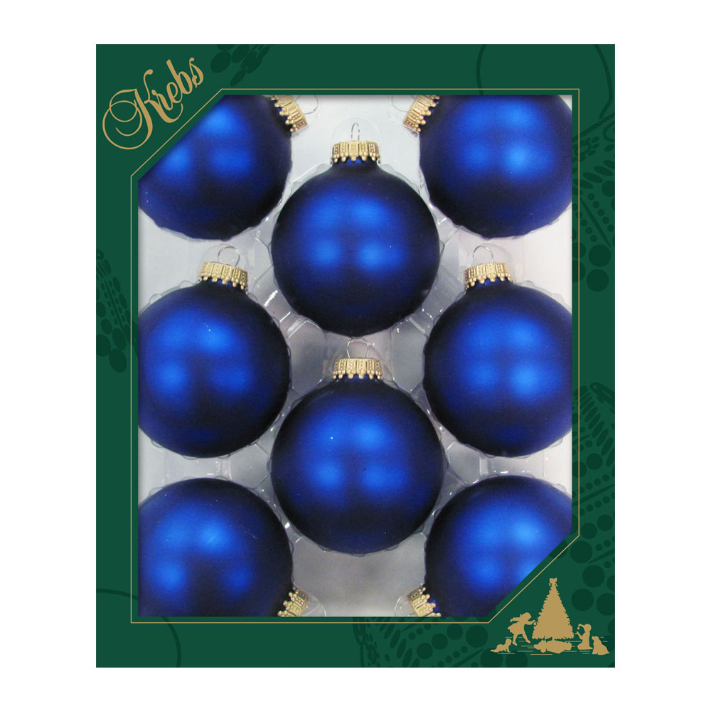Krebs Royal Blue Velvet Glass Baubles - 8 x 67mm