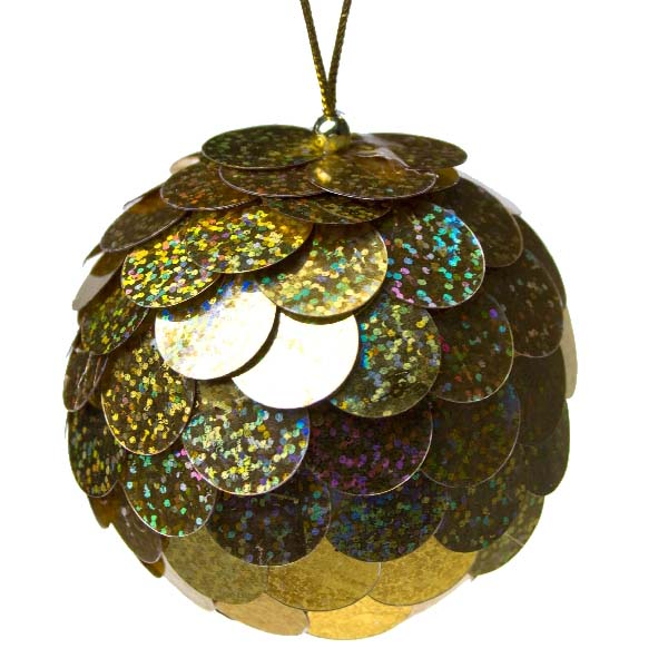 Gold Sequin Bauble - 80mm