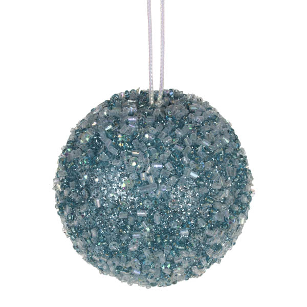 Pale Blue Beaded Bauble - 65mm