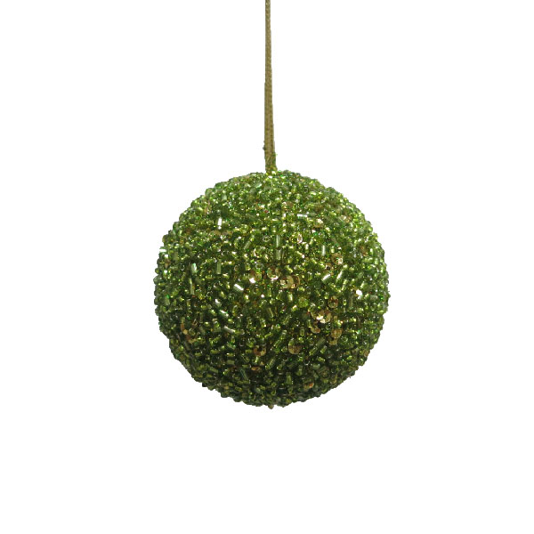 Olive Green Beaded Bauble - 65mm