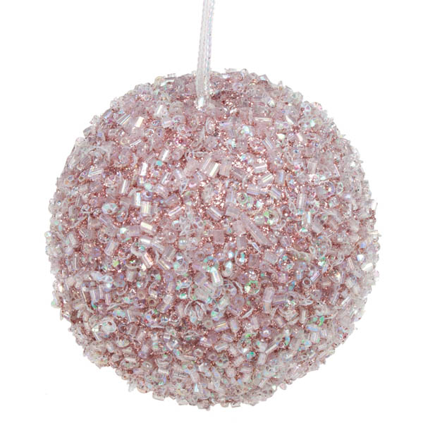 Pale Pink Beaded Bauble - 65mm