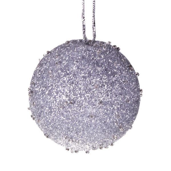 Silver Beaded Bauble - 65mm