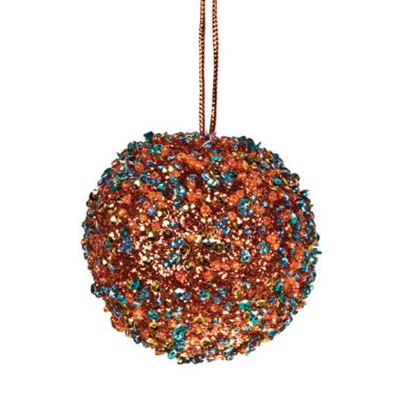 Copper/Turquoise Beaded Bauble - 65mm