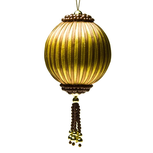 Beaded Ribbon Gold/Brown Bauble - 80mm