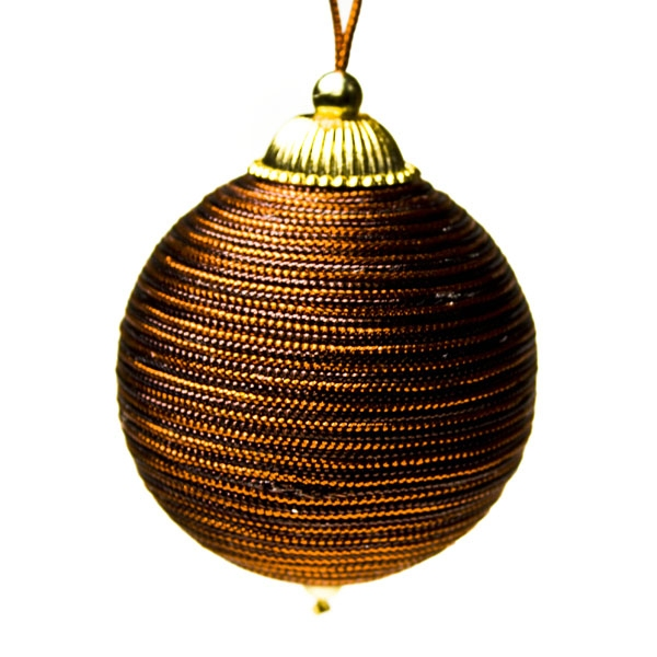 Copper And Brown Metallic Yarn Bauble - 65mm