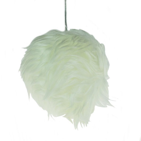 Cream White Fur Bauble - 85mm