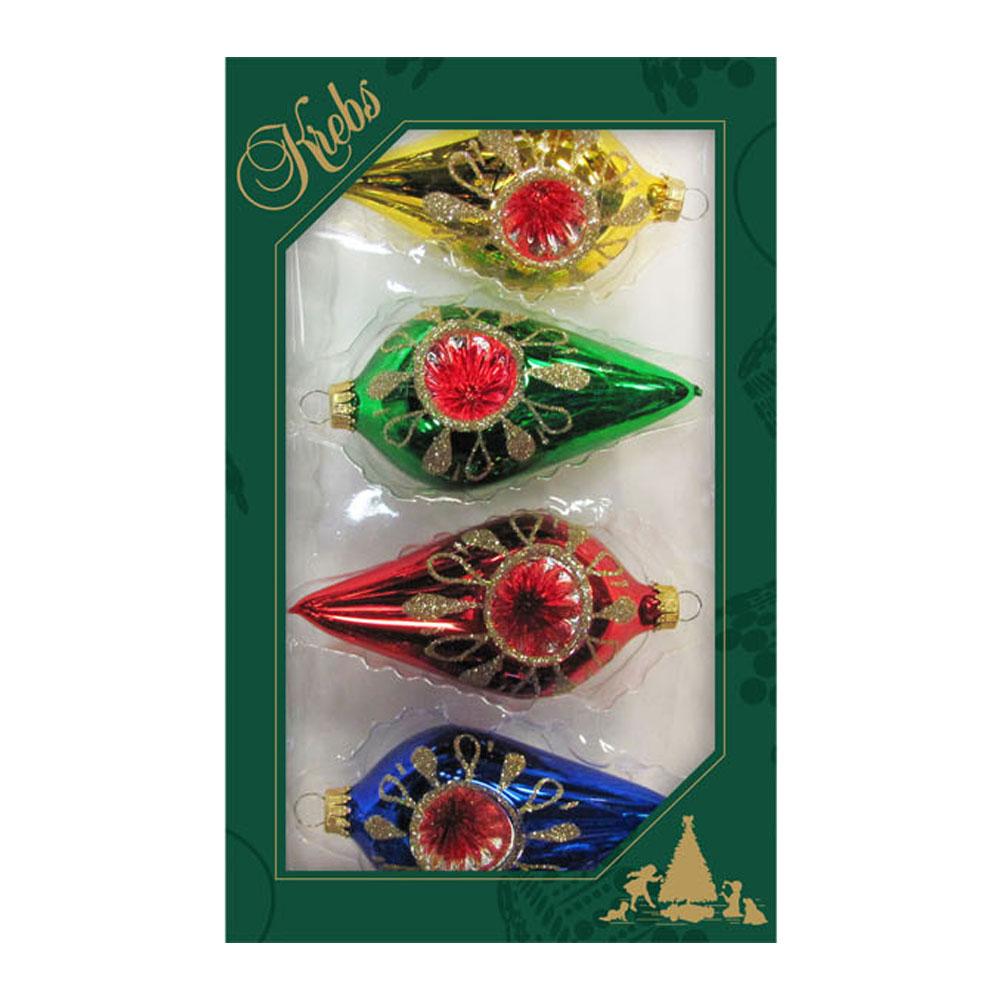 Krebs Reflector Glass Olive 10cm X 5cm Shapes - 4 Pack