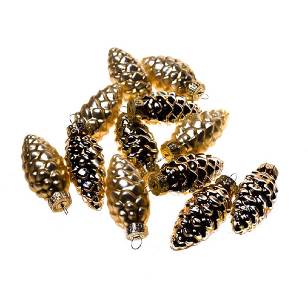 Light Gold Glass Pine Cones - 12 x 60mm