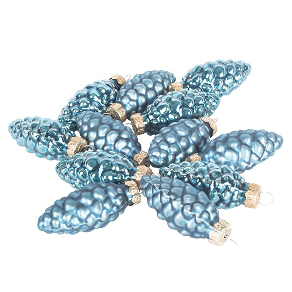 Petrol Blue Glass Pine Cones - 12 x 60mm