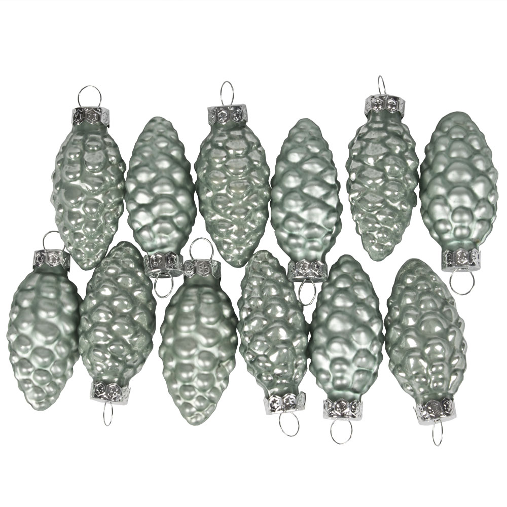 Pale Sage Green Glass Pine Cones - 12 x 60mm