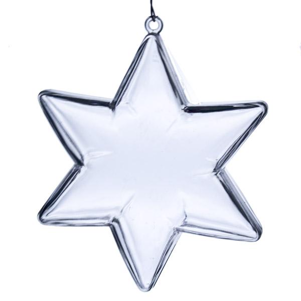 Clear Splittable Star Bauble - 100mm