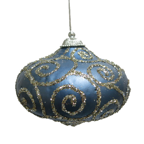 Blue & Platinum Glitter Swirl Minaret Hanging Decoration - 11cm