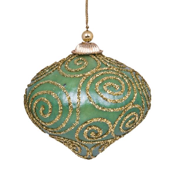 Green & Gold Glitter Swirl Minaret Hanging Decoration - 11cm