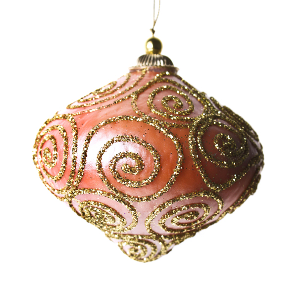 Orange & Gold Glitter Swirl Minaret Hanging Decoration - 11cm