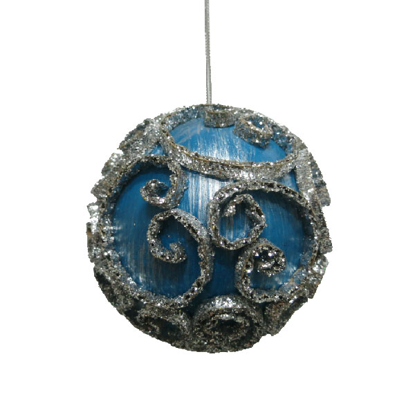 Turquoise & Silver Swirl Decorated Bauble - 11cm