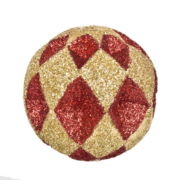 Red & Gold Diamond Cut Glitter Bauble - 10cm