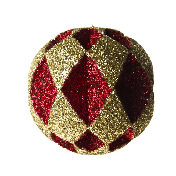 Red & Gold Diamond Cut Glitter Bauble - 30cm
