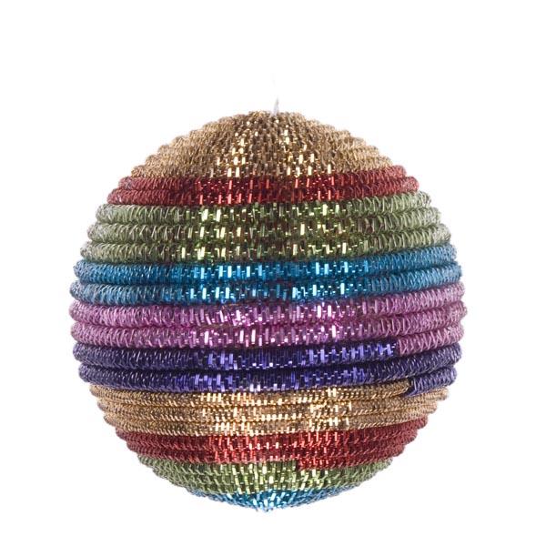 Multi Coloured Striped Cord Bauble - 100mm