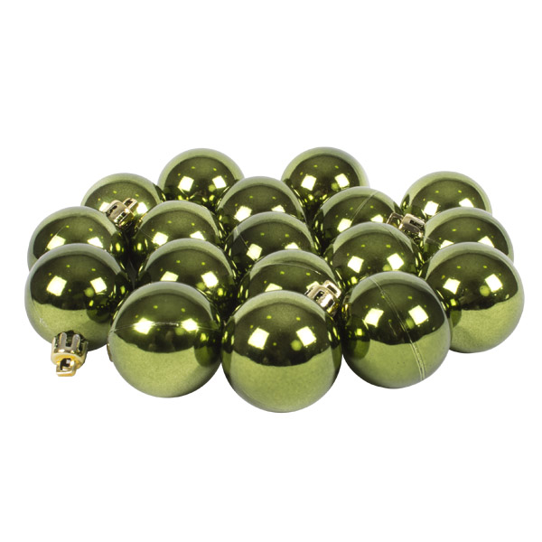 Green Baubles Shiny Shatterproof - Pack Of 18 x 40mm