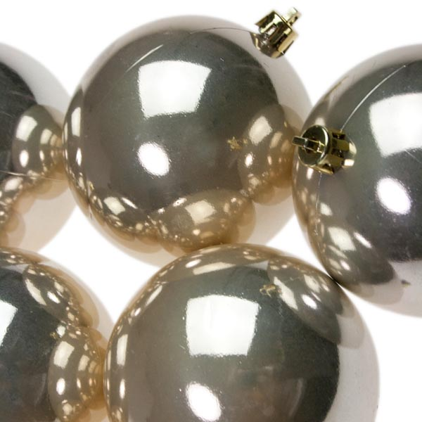 Pearl Champagne Gold Baubles Shiny Shatterproof - Pack Of 18 x 60mm