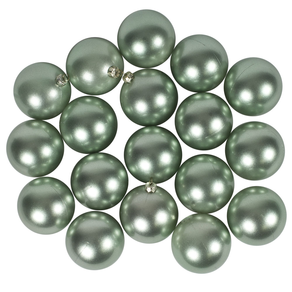 Pearl Green Baubles Shiny Shatterproof - Pack Of 18 x 60mm
