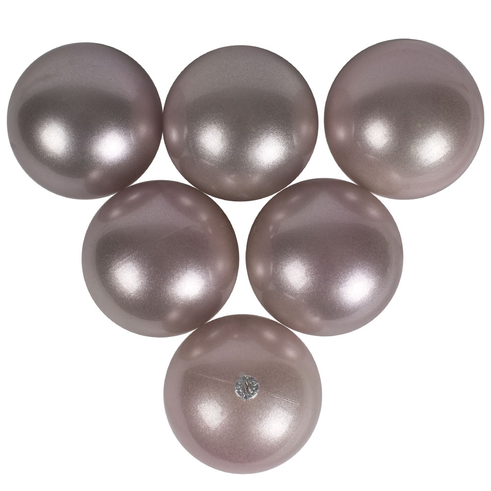 Pearl Blush Pink Baubles Shiny Shatterproof - Pack Of 6 x 80mm