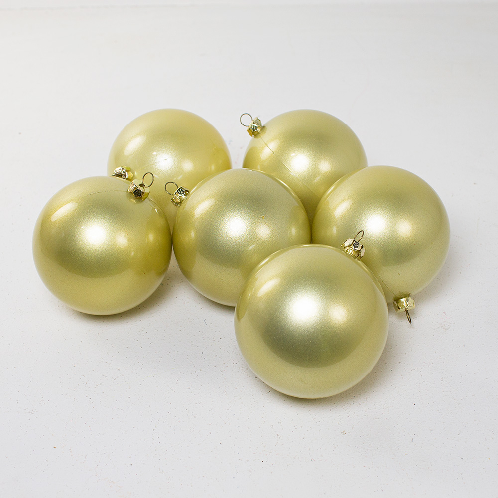 Pearl Champagne Gold Baubles Shiny Shatterproof - Pack Of 6 x 80mm