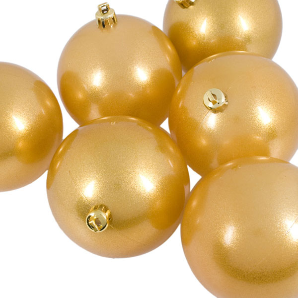 Metallic Gold Baubles Shiny Shatterproof - Pack Of 6 x 80mm