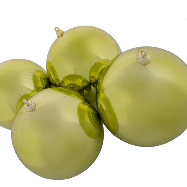Lime Green Baubles Shiny Shatterproof - Pack Of 4 x 140mm