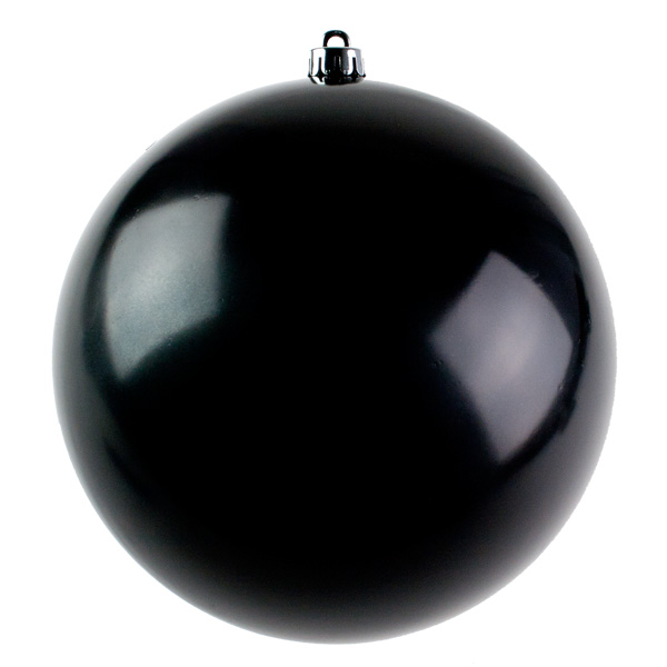 Black Baubles Shiny Shatterproof - Single 250mm