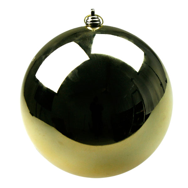 Gold Baubles Shiny Shatterproof - Single 250mm