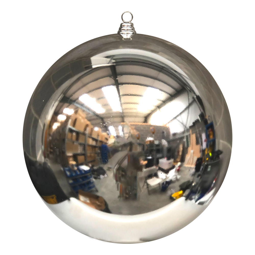 Silver Baubles Shiny Shatterproof - Single 400mm
