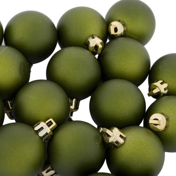 Green Shatterproof Baubles  - Pack of 18 x 40mm Matt