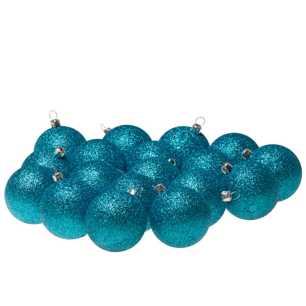 Xmas Baubles - Pack of 18 x 60mm Aqua Turquoise Glitter Shatterproof
