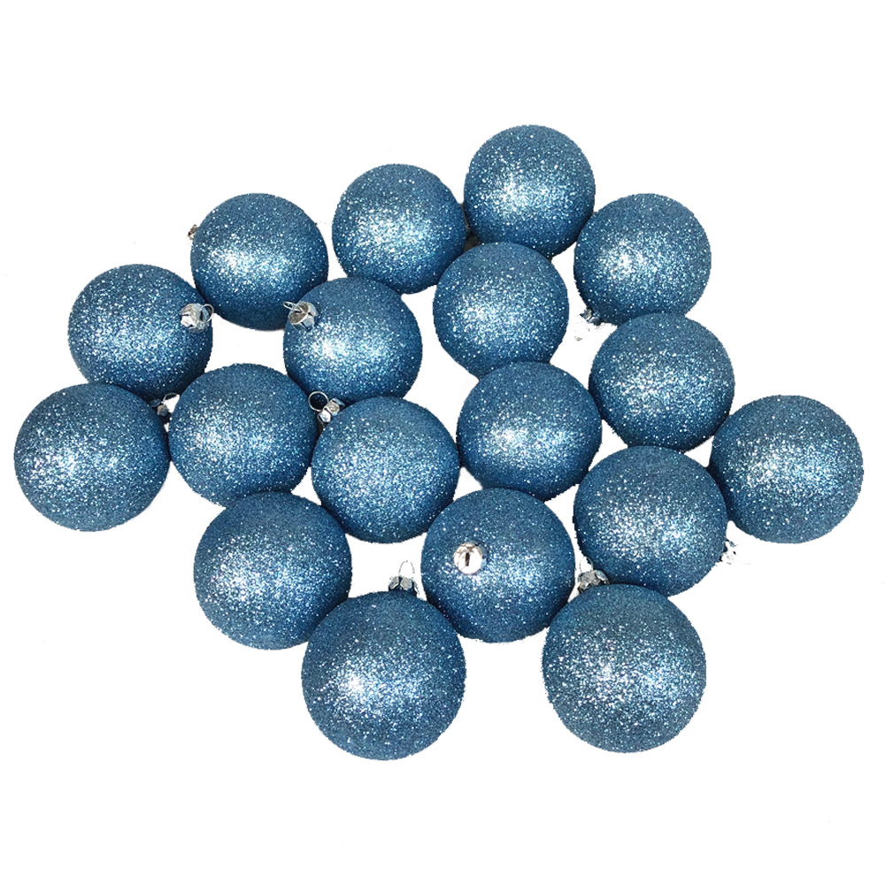 Xmas Baubles - Pack of 18 x 60mm Gentle Blue Glitter Shatterproof