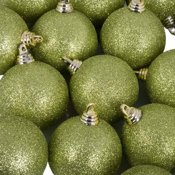 Xmas Baubles - Pack of 18 x 60mm Lime Green Glitter Shatterproof