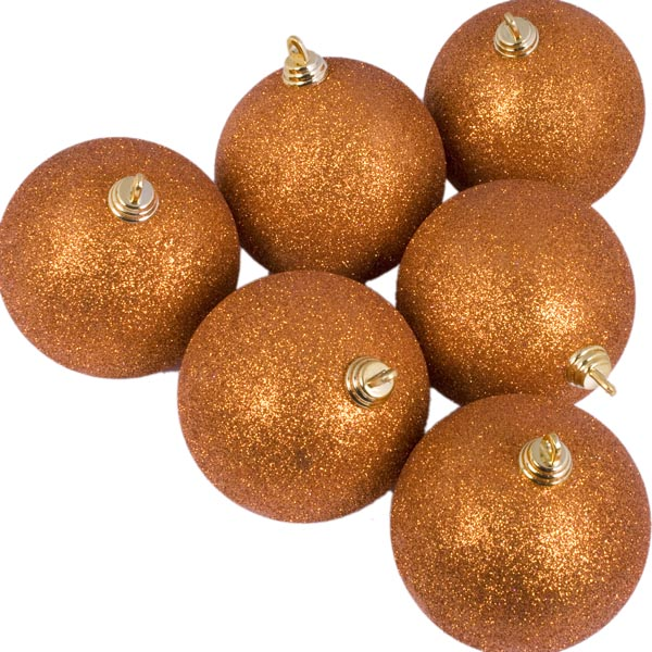 Xmas Baubles - Pack of 6 x 80mm Copper Orange Glitter Shatterproof
