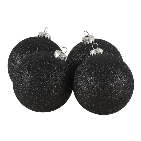 Xmas Baubles - Pack of 4 x 100mm Black Glitter Shatterproof