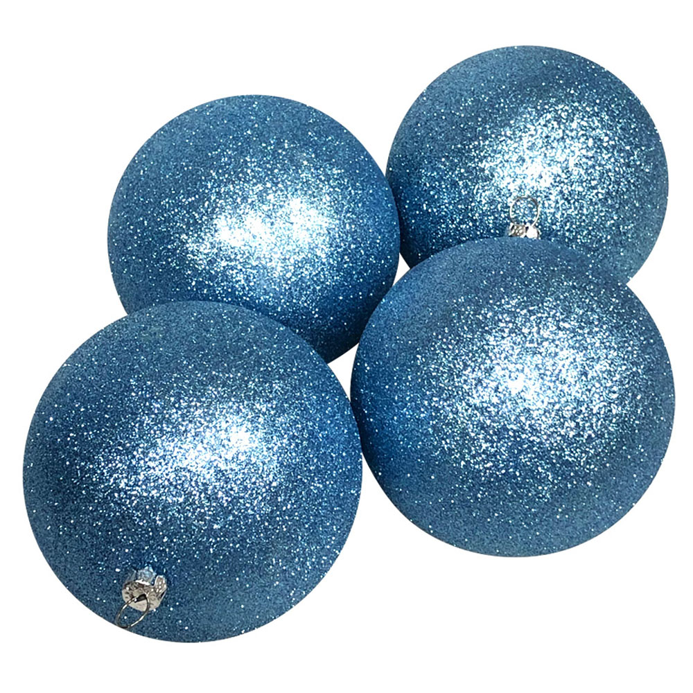 Xmas Baubles - Pack of 4 x 140 Gentle Blue Glitter Shatterproof
