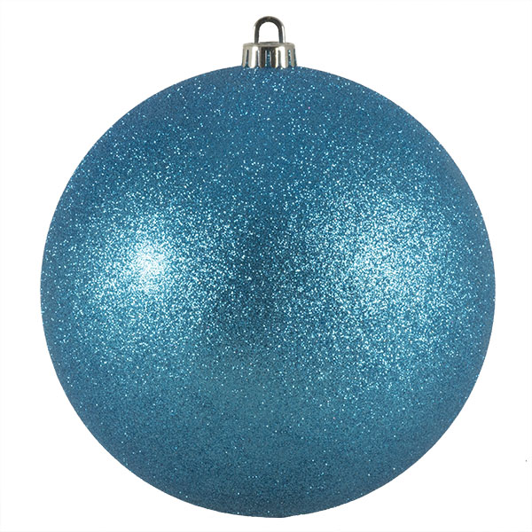 Xmas Baubles - Single 200mm Aqua Turquoise Glitter Shatterproof