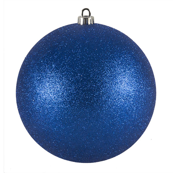 Xmas Baubles - Single 200mm Blue Glitter Shatterproof