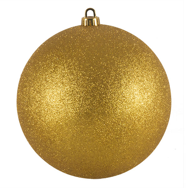 Xmas Baubles - Single 200mm Gold Glitter Shatterproof