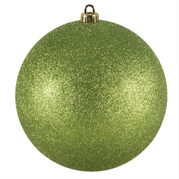 Xmas Baubles - Single 200mm Lime Green Glitter Shatterproof