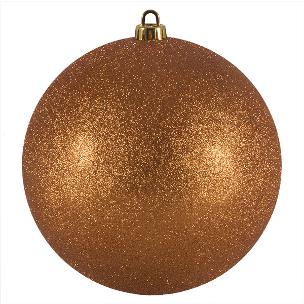 Xmas Baubles - Single 200mm Copper Orange Glitter Shatterproof