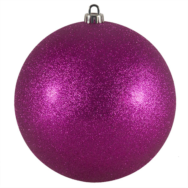 Xmas Baubles - Single 200mm Cerise Pink Glitter Shatterproof