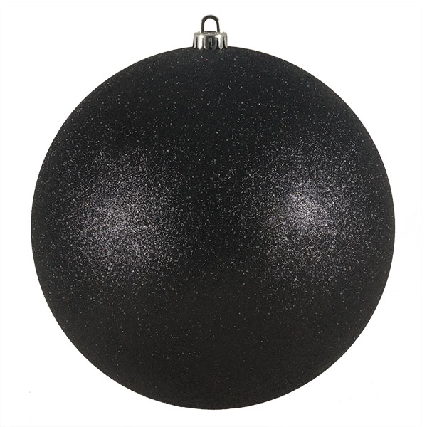 Xmas Baubles - Single 250mm Black Glitter Shatterproof