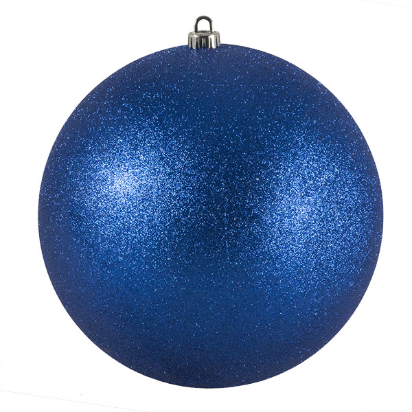 Xmas Baubles - Single 250mm Blue Glitter Shatterproof